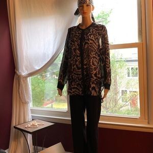 Sheer animal print tunic/blouse